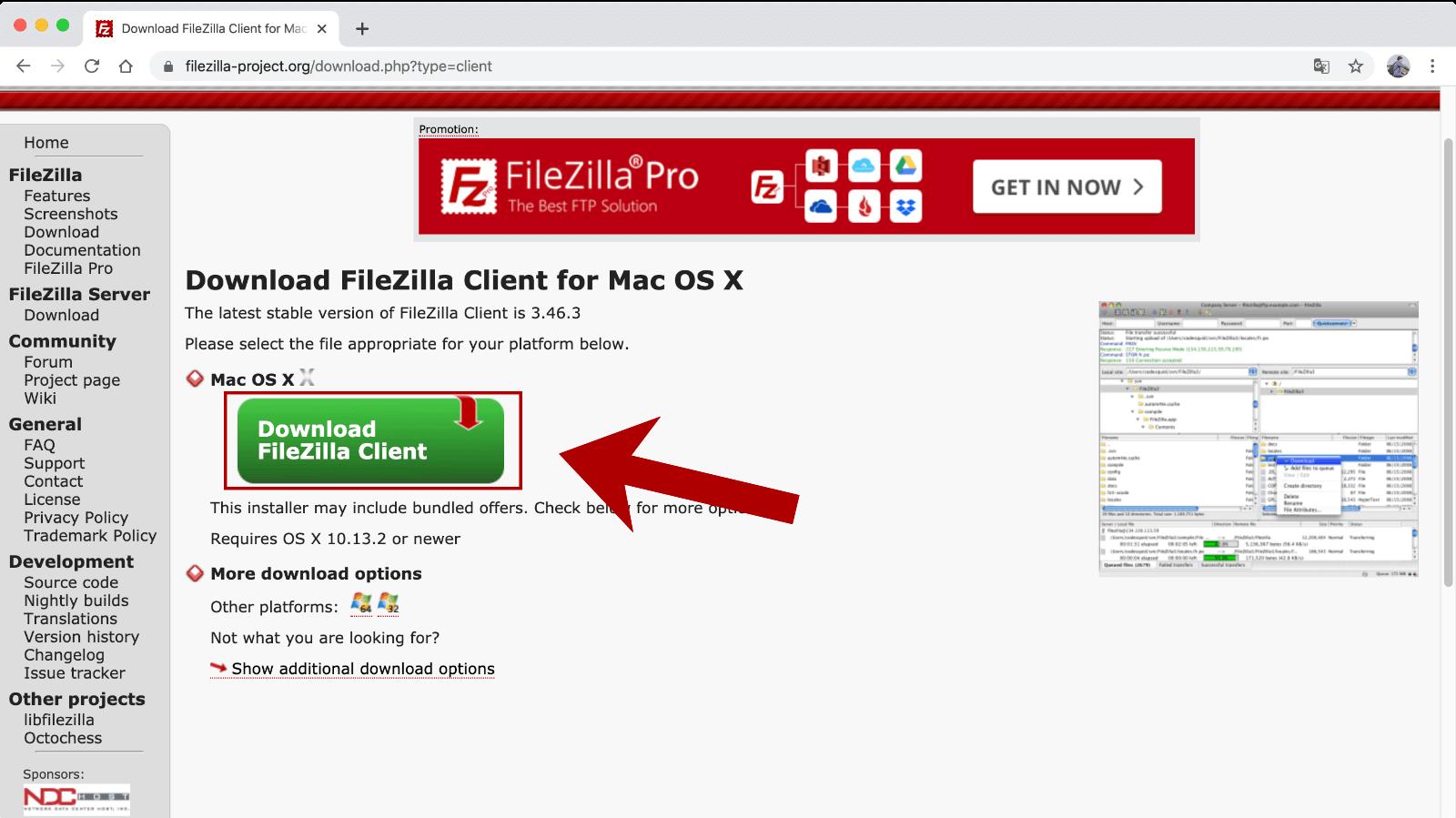FileZillaのインストーラーのダウンロード