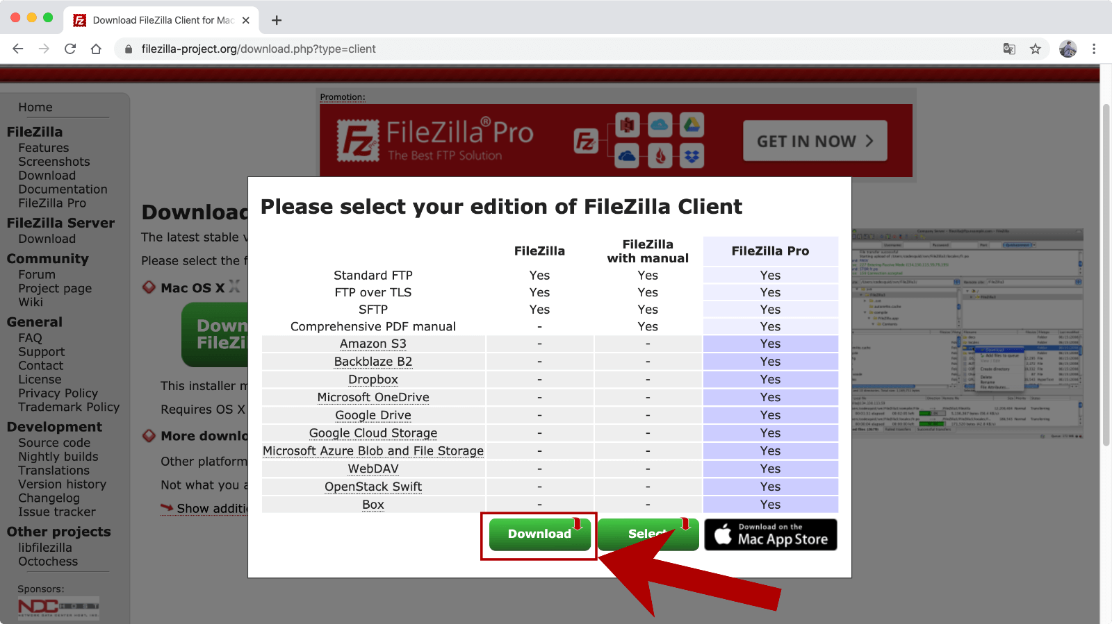 FileZillaのタイプを選んでダウンロード