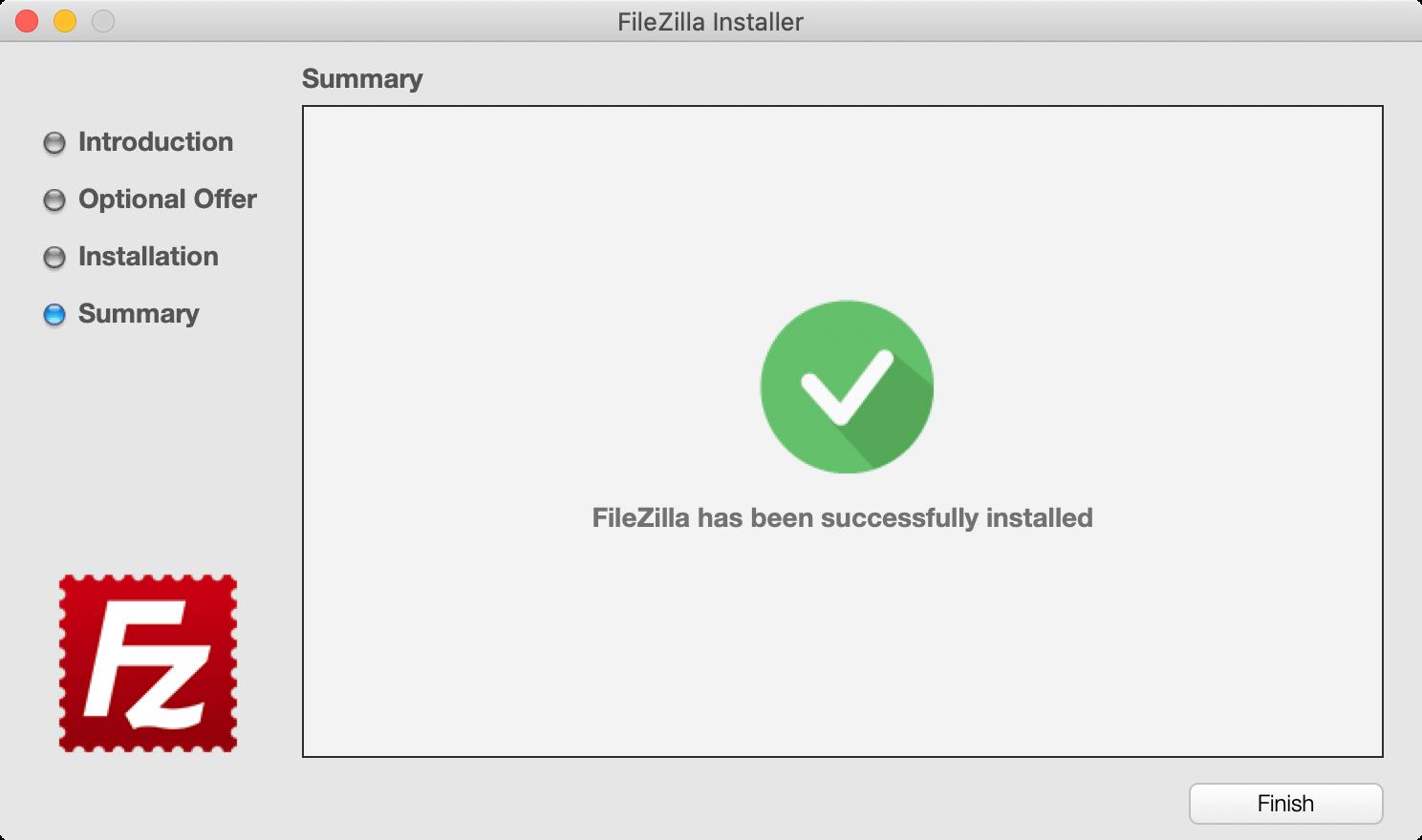 FileZillaのインストール完了