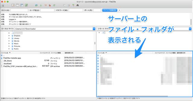 サーバー接続できると、サーバー上のファイルが表示されます