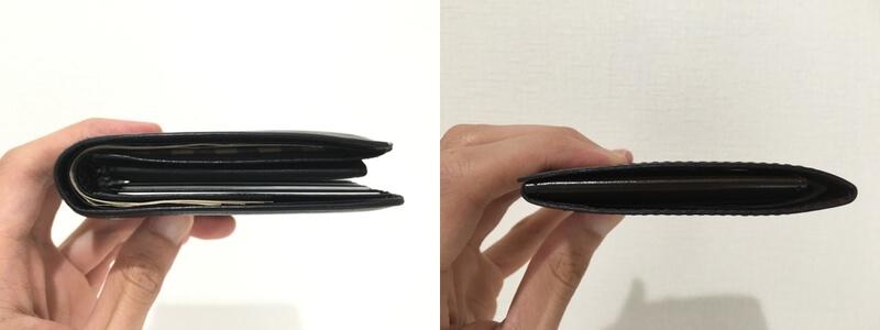 今まで使っていた財布とabrAsusの薄いマネークリップの厚さ比較
