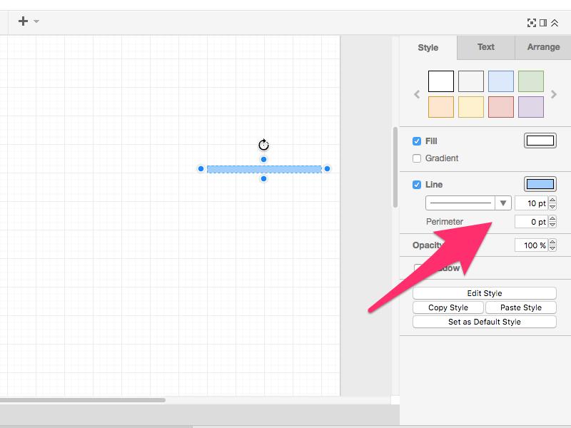 色や太さ・大きさを変更したい場合は対象の図形を選んで右側のパネルで設定します