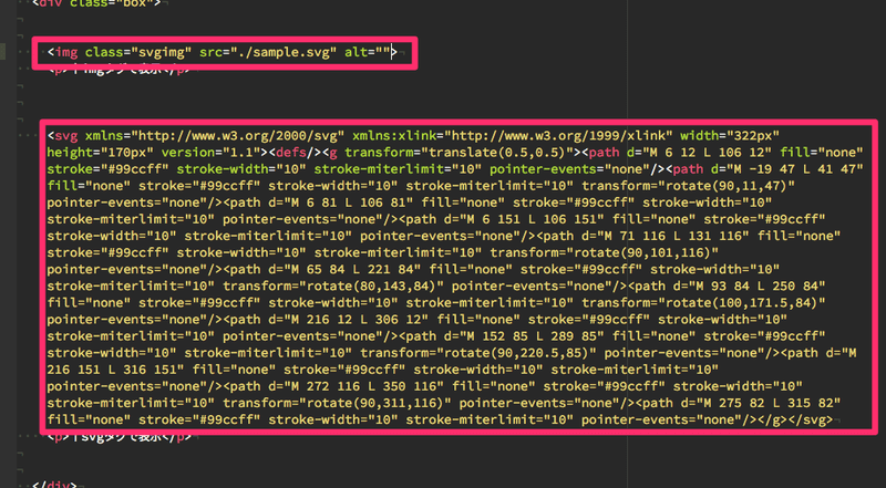 SVGをimgタグで読み込むかhtmlに直接svgタグで記述します