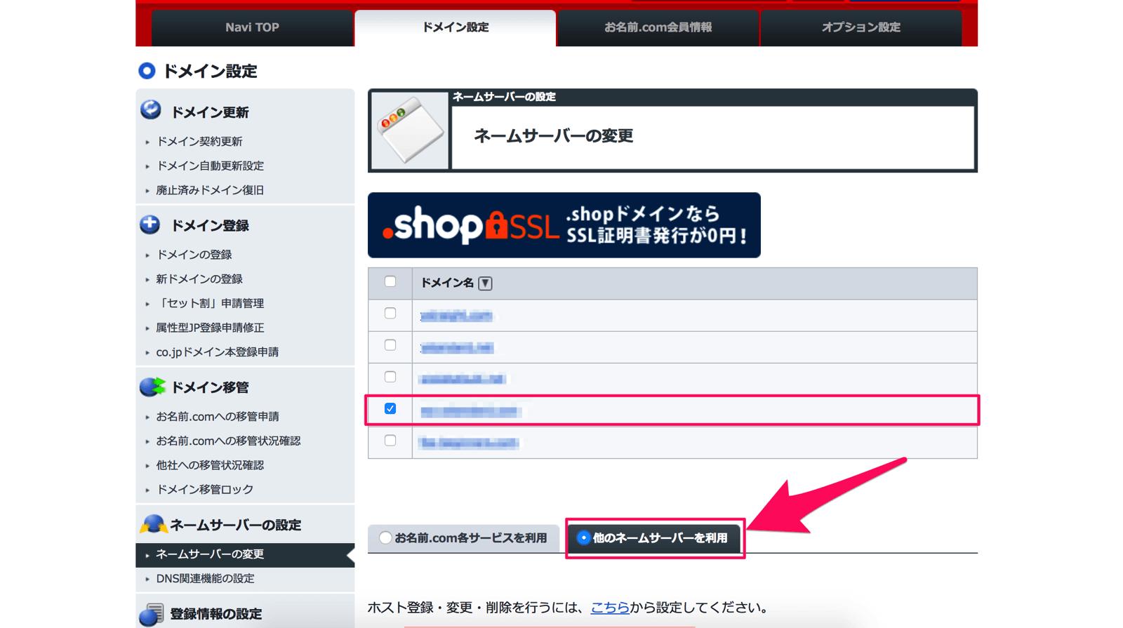 ネームサーバーを変更するドメインにチェックを付けて「他のネームサーバーを利用」を選択します