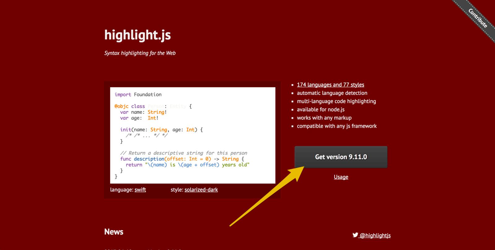 highlight.jsのファイルをダウンロード