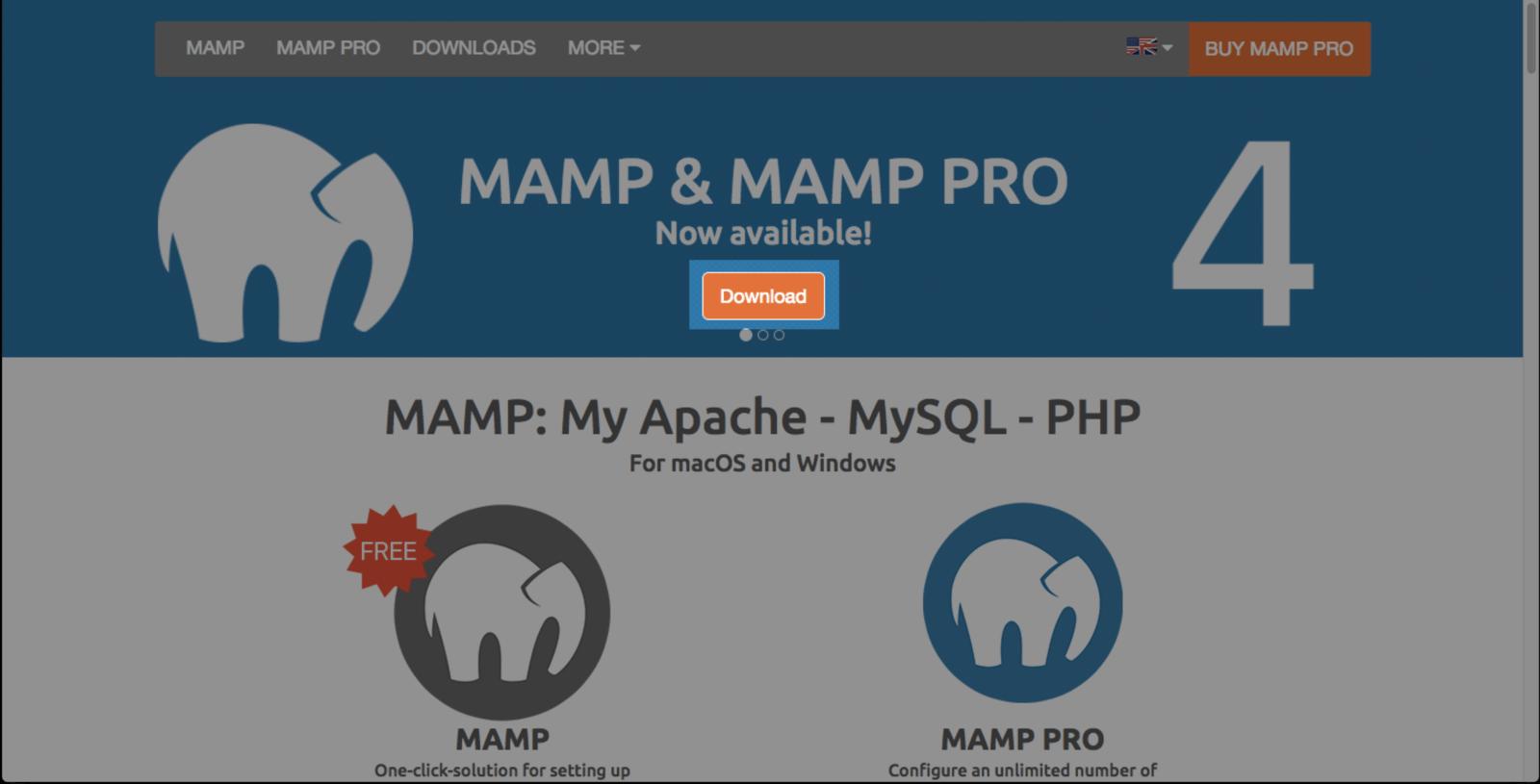 MAMPの公式ページからインストーラーをダウンロードする