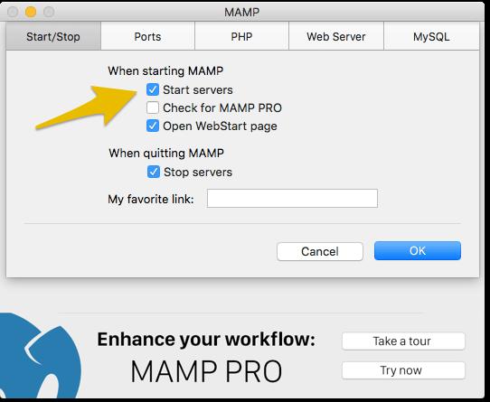 MAMP起動時に自動でサーバー起動されるように設定しておくと便利