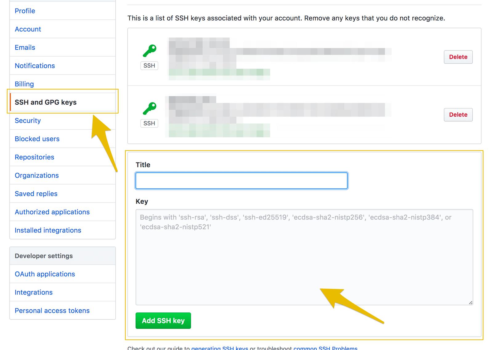 GitHubの設定ページからSSH鍵を登録します