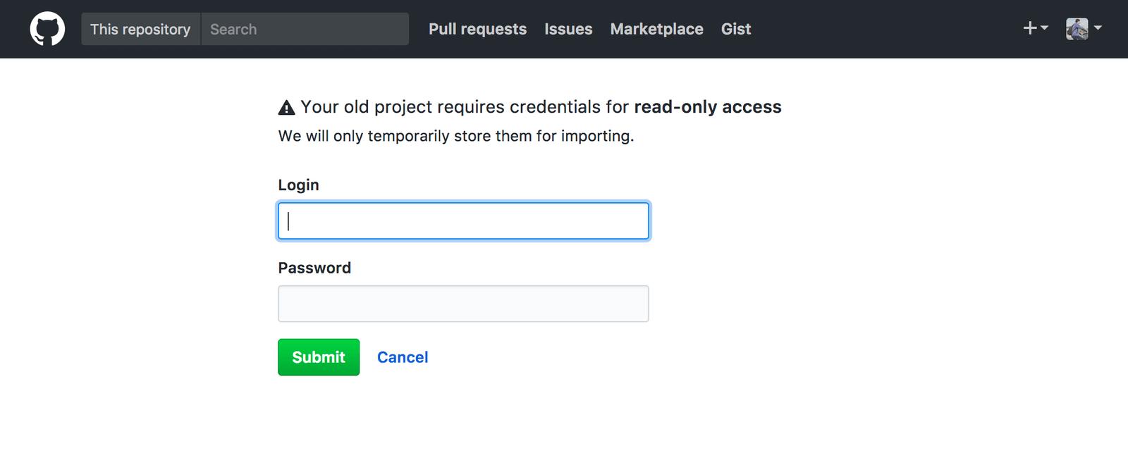 プライベートリポジトリのインポートにはBitbucketのログイン情報が必要