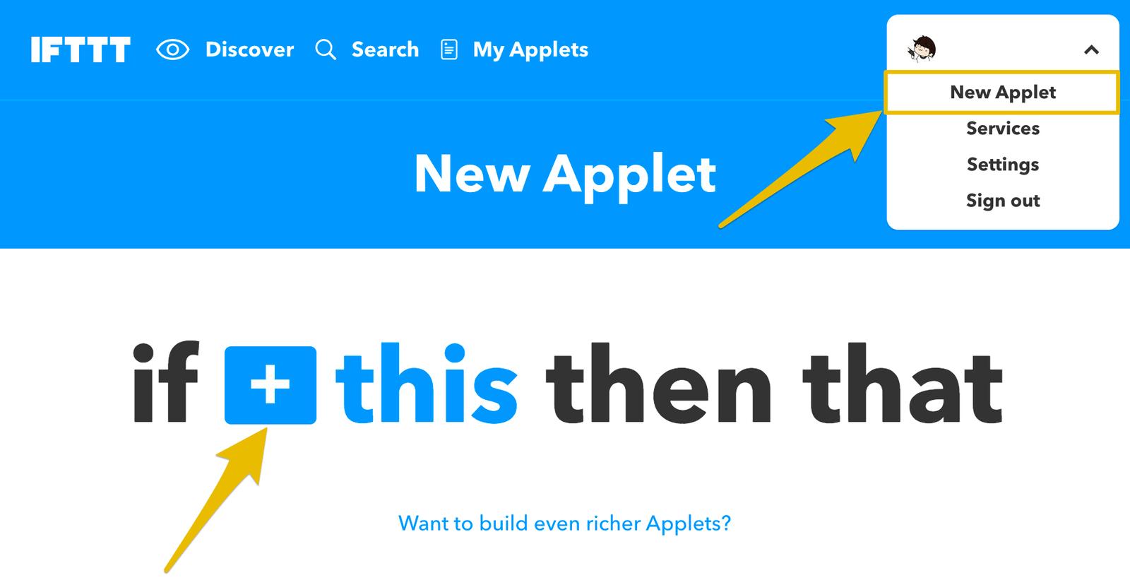 右上のメニューからNew Appletを選び、this部分の設定から始める