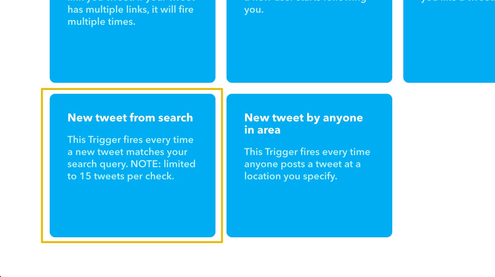 エゴサーチ結果をトリガーにしたいので「New tweet from search」を選択