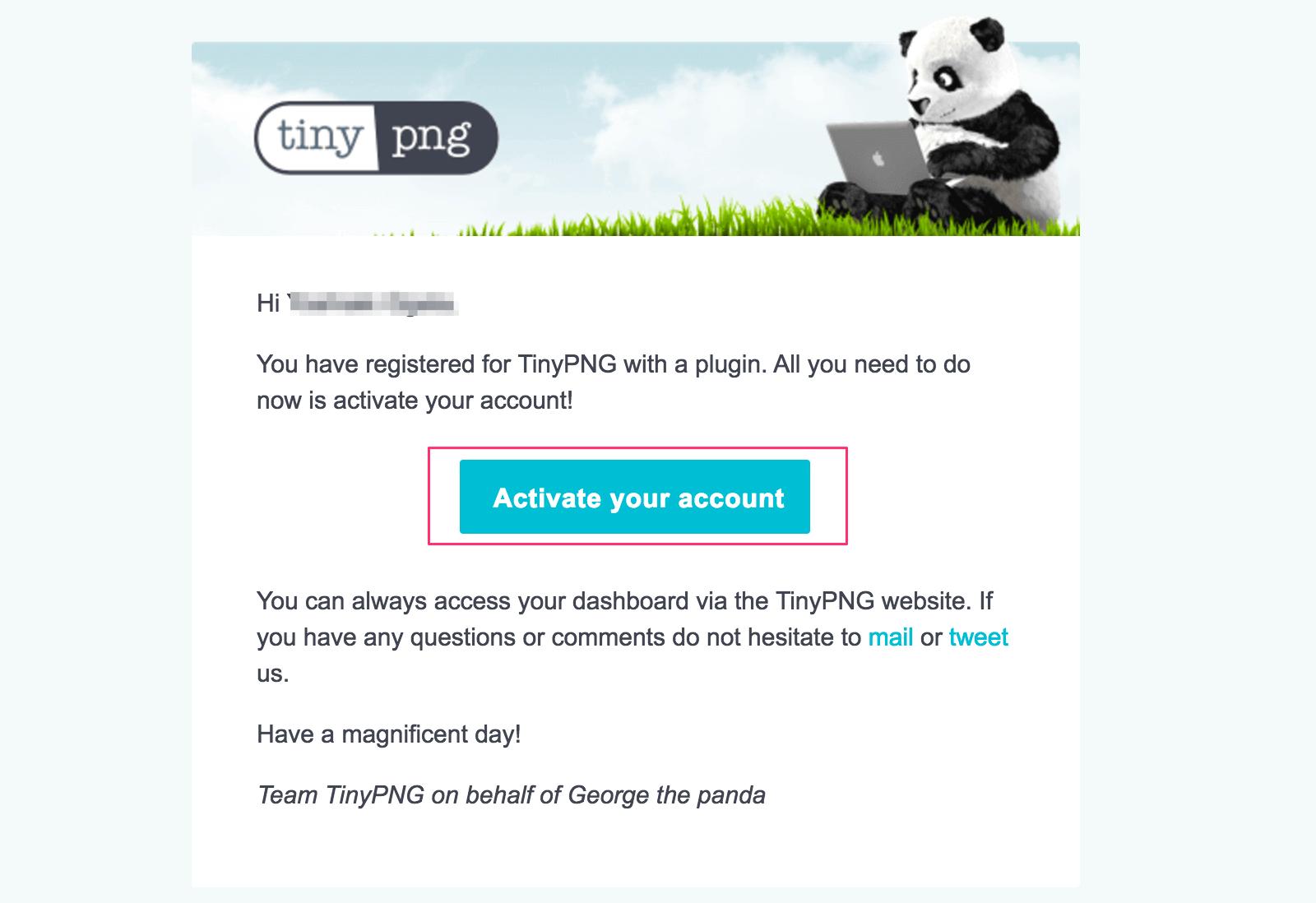 アカウント有効化のリンクつきメールが届く