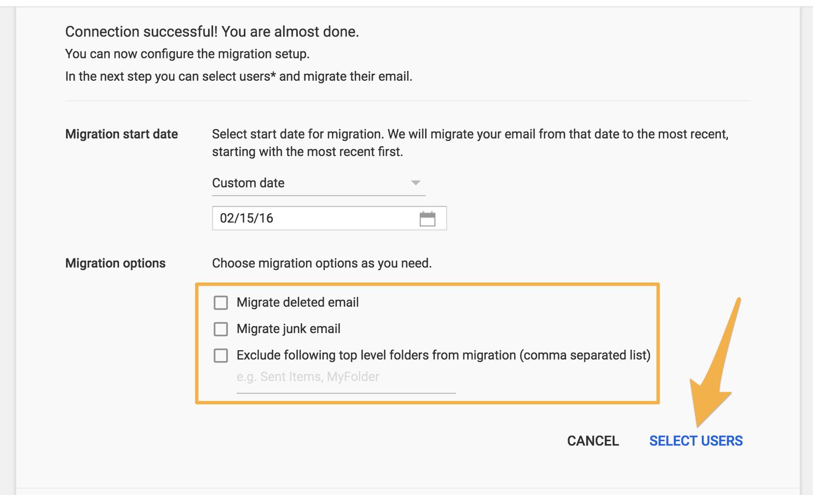 削除済みメールやスパムメールを移行するかなども設定可能