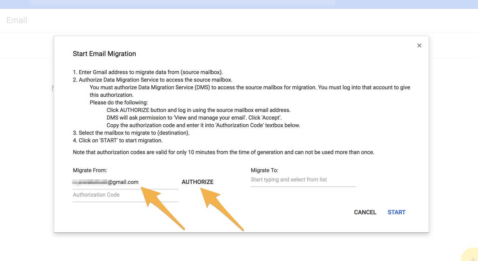 移行元のGmailアドレスを入力してAUTHORIZEをクリック