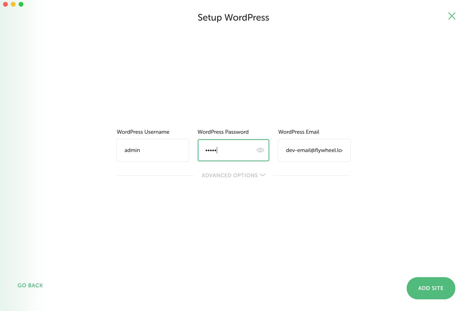 WordPressの管理者アカウント情報を入力する