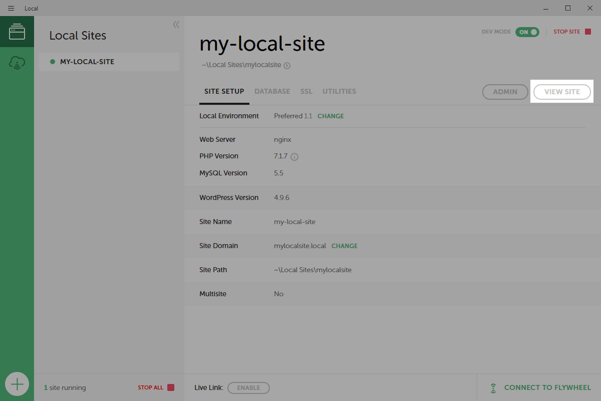 VIEW SITEボタンでサイトを表示