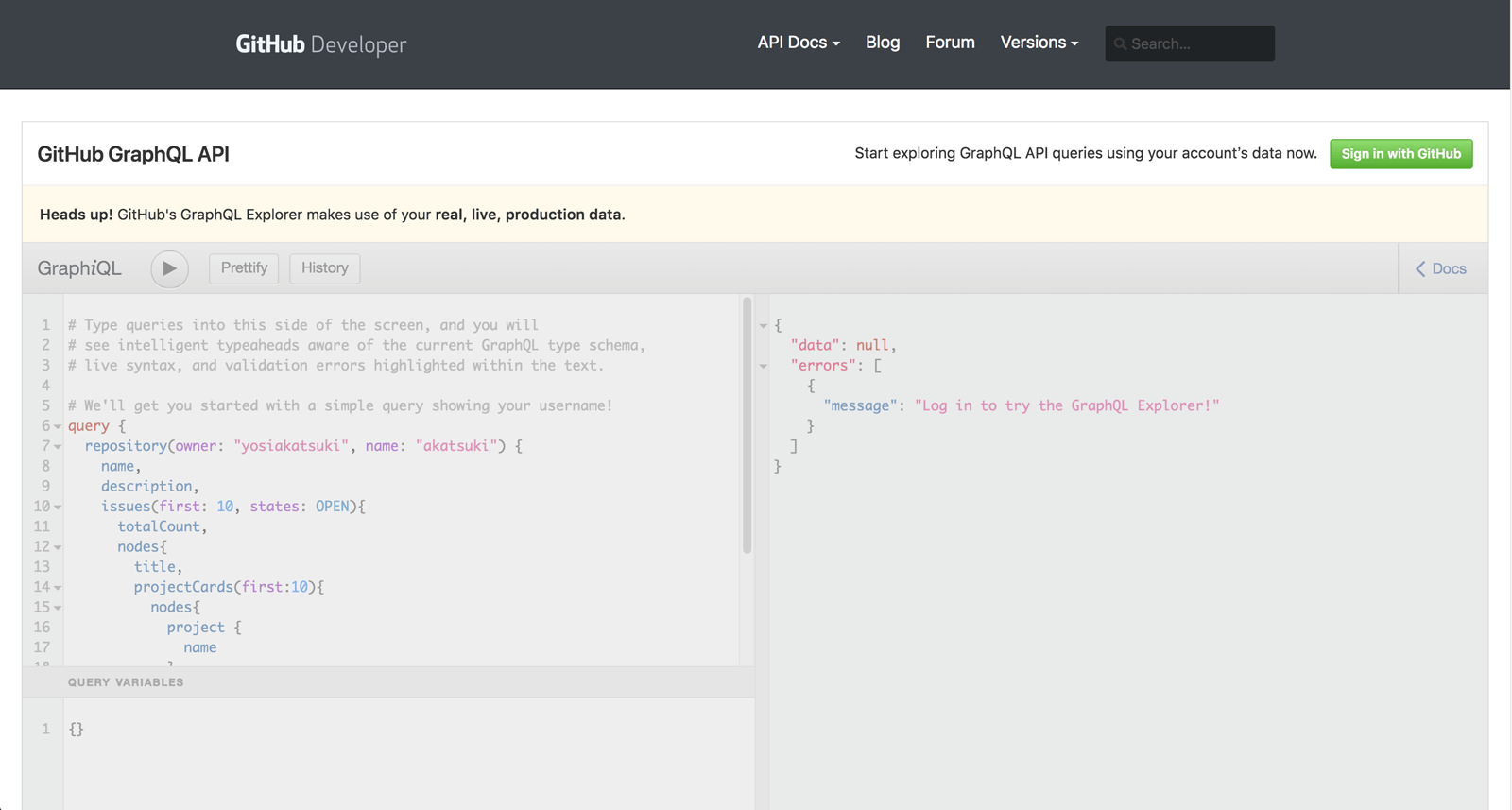 GitHub GraphQL APIを試しに使えるページ