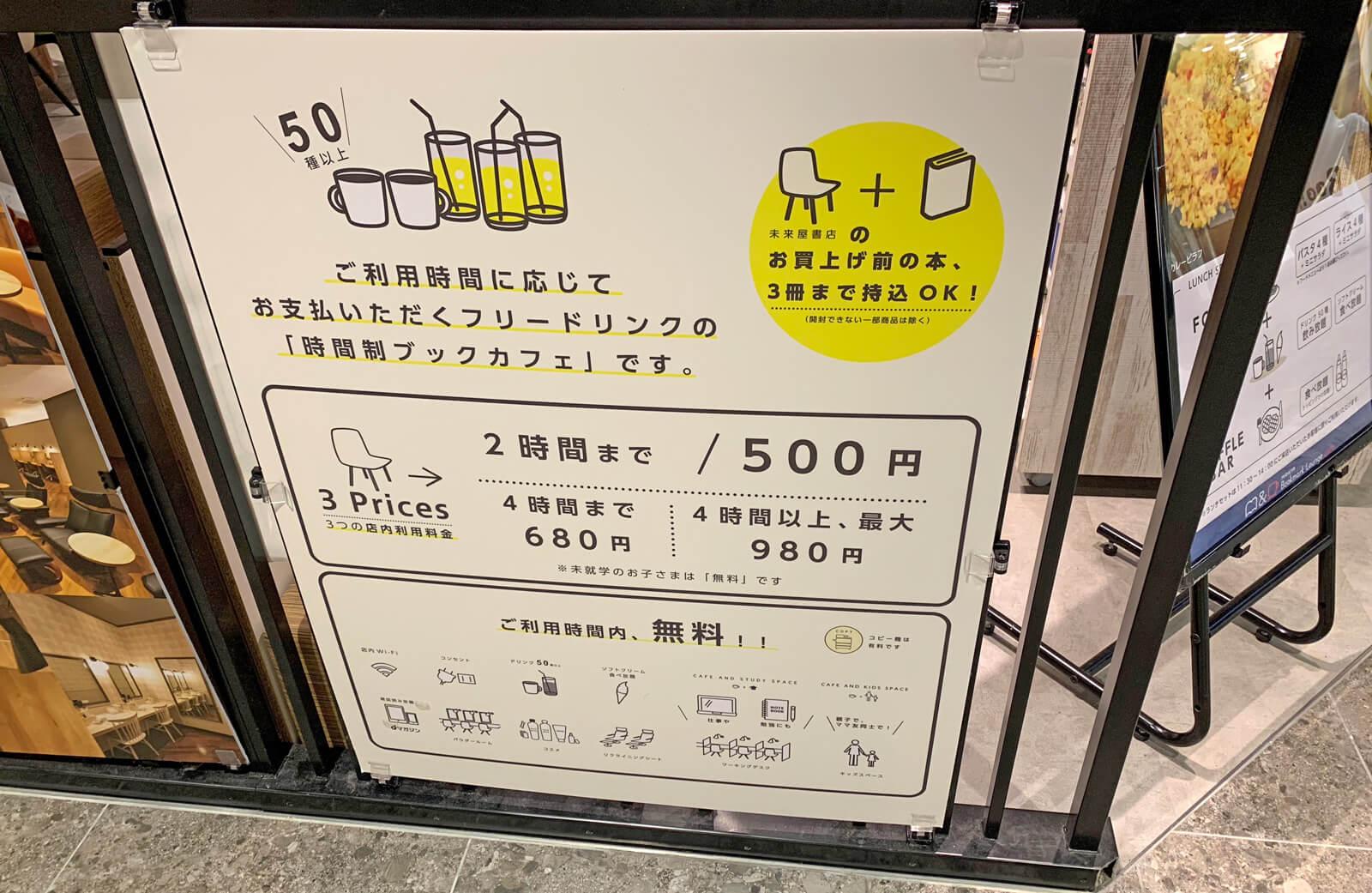 利用時間に合わせた料金形態。1日いても1000円なのは魅力的