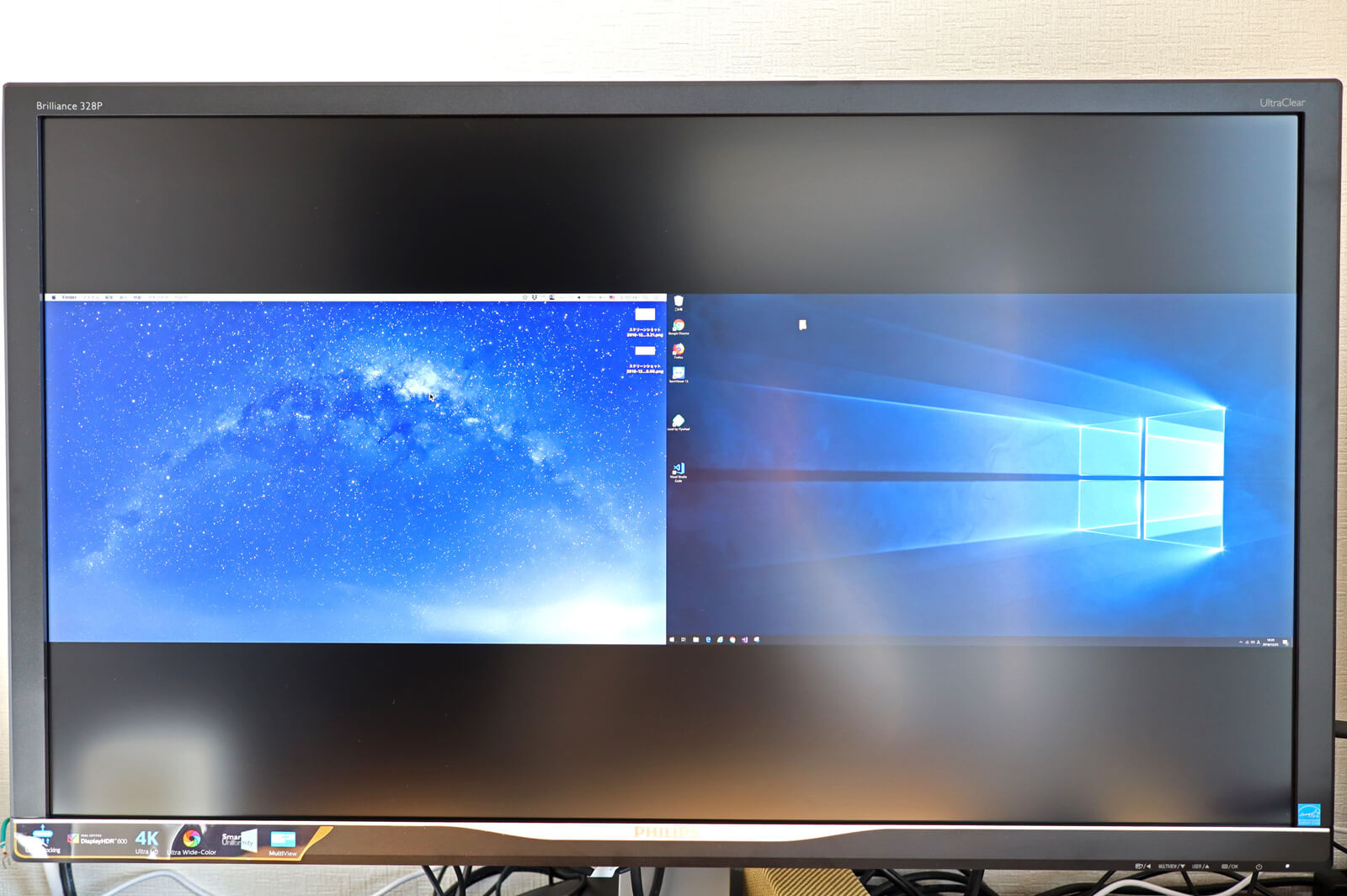 PHILIPSの328P6VUBREB/11のPBP機能でMacとWindowsを同時に表示
