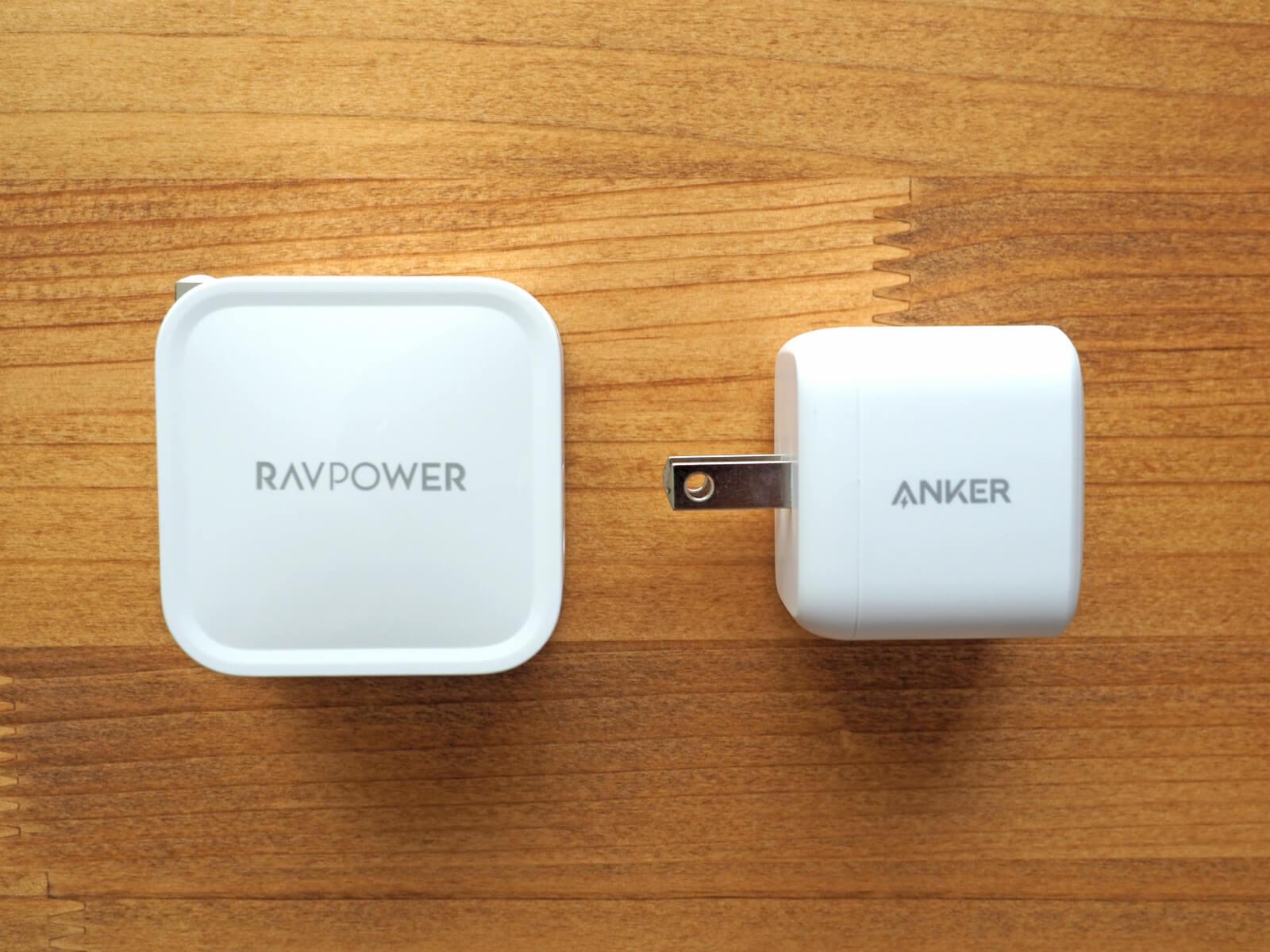 RAVPower RP-PC112とAnker PowerPort Atom PD 1サイズ比較