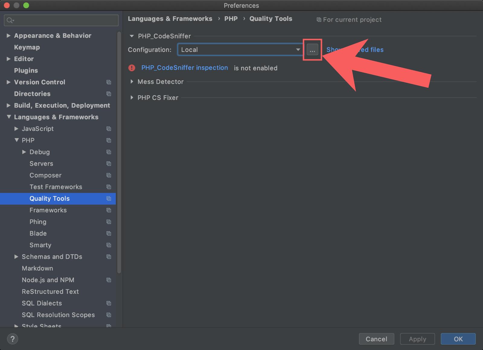 PHP CodeSnifferのパスを設定する