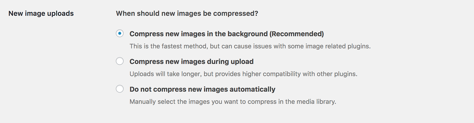 画像の圧縮タイミングを選択できる